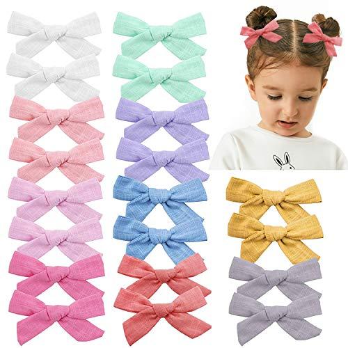 Haarschleifen für Babys, Mädchen, aus Leinen, 20 Stück, helle Farben