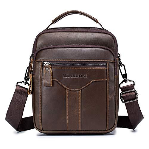 MANNUOSI Herren Schultertaschen business Freizeit Henkeltaschen echtleder vintage Handtaschen Braun
