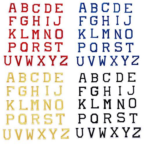 Zasiene Parches para Ropa 104 Piezas Parches Bordado Apliques de Alfabeto A-Z Letras Adhesivas para Ropa para Reparar Costura Parches Artesanal de Bricolaje Decorar(4 Colores)