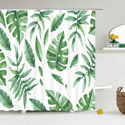 AMISADMGMA Shower curtainModern Printing Forest Shower Curtain Green Plant Tree Landscape Bath Curtain With Hooks For Bathroom waterproof scenery
