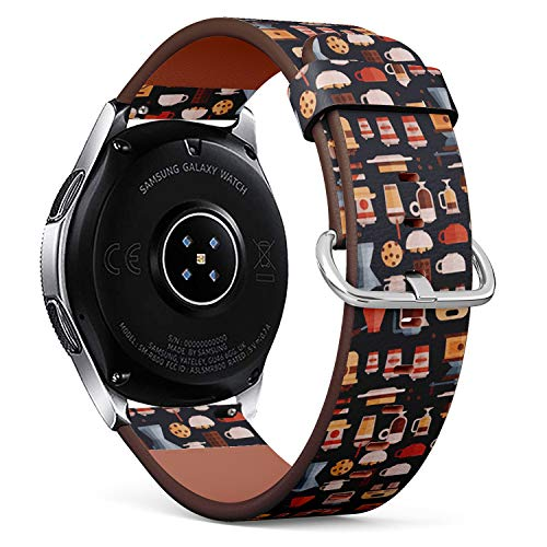Art-Strap Kompatibel mit Samsung Galaxy Watch (46mm) - Leder-Armband Uhrenarmband Ersatzarmbänder mit Schnellverschluss (Kaffee-Kaffeemaschinen-Kaffeetassen)