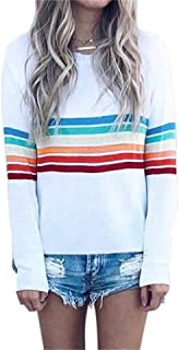 Women Casual Top Stripe Printed Crew Neck Long Sleeve Loose Fit Fashion Shirt Blouse