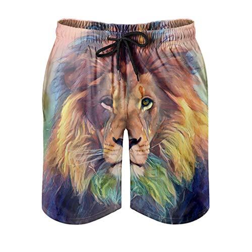 kikomia Pantalones cortos de playa para hombre, abstractos, multicolor, león, impresión psicodélica, con bolsillos, blanco, 5XL