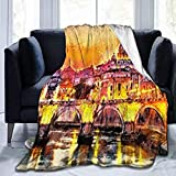 HUA JIE Throw Blanket for Kids Teens Adults Oil Colorful San Peterwork Rome Europe Painting City Twilight Attractions Vatican Angel Sofa Couch Flannel Quilt