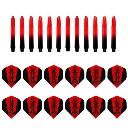 Pentathlon - Kombi - Set 12 Stk. Samurai Rot Flights + 12 Stk. Pentathlon Shafts Schwarz/Rot Short 35 mm TA1558 inkl. Checkout-Tabelle von British Darts