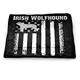 KOP SIFK Irish Wolfhound America Flag Dog Bed Multiple Sizes/Colors,Small Pet Mat for Pets Dogs Cats Indoor Warming Mat Waterproof Chew Resistant