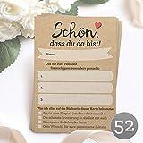 52 Postkarten - Schön, dass du da bist - mit INDIVIDUELLEN Fragen als Hochzeitsspiel für Gäste oder als Alternative zum Hochzeitsgästebuch (DIN A6)