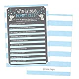 25 Blue Elephant Baby Shower Games Ideas For Boys, Fun Party Activities Who Knows Mommy Best Gender Neutral Reveal Parent Guessing Funny Questions Bundle Kids, Mom, Dad and Coed Couples Little Peanut