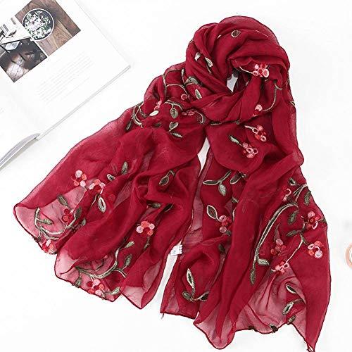 LWYLBP Vintage Pfirsichblüte Stickerei Schal Frauen Floral Bedruckte Schals Paris Garn Schal Damen Elegante Lange Weiche Wrap-H
