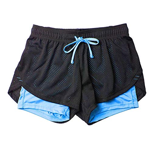 Fansi - Pantalones cortos deportivos para mujer, de doble capa, para yoga, correr, para verano, color azul, poliéster, poliéster, azul claro, large