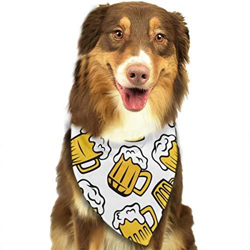 Hunde-Halstuch mit Cartoon-Bierglas-Motiv, personalisierbar