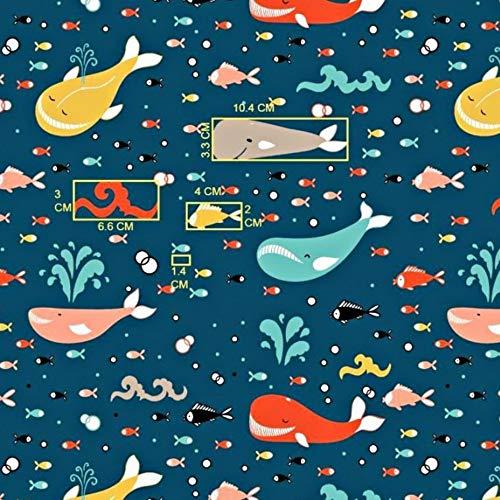 Pingianer 11,99€/m Fisch Wal 100% Baumwolle Baumwollstoff Kinder Meterware Handwerken Nähen Stoff (Wal Bunt auf Dunkelblau, 100x160cm (11,99€/m))
