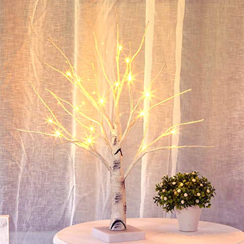 Bolylight Lighted Birch Tree Centerpiece Jewelry Tree Night Light Table Lamp 17.71 inch 18L Home Decor for Valentine's Day/Party/Festival/Wedding