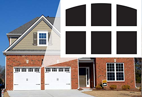 Garage Door Window Magnets by Jones Mountain Decorative Faux Magnetic Window Decals Made in The USA 2-Car Metal Garage Doors Outdoor Pre-Cut for Easy Install with Magnetic Ruler (6-Pane Arch Style)