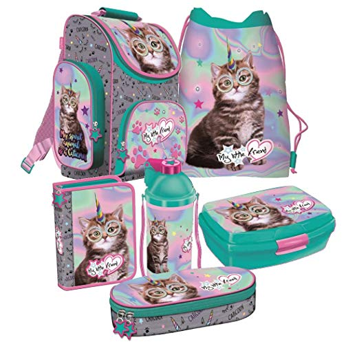 Katze Cat Einhorn Unicorn 6 Teile Set Schulranzen Ranzen Tasche Schulrucksack Rucksack Federmappe Tornister Caticorn + Sticker von Kids4shop