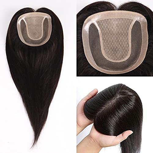 UniWigs Human Hair Topper Pieces, Natural Black Silk Base Style With Lace PU Around for Women Hair Loss or Thin Hair (12'')