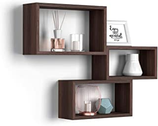 Dimensions: 97,5 x 97,5 x 29 cm Couleur Wenge HxLxL Bibliotheque cubique Decoration Bois Design Moderne 6 Niveaux CD//DVD - Art Rebecca Mobili Etag/ère au Sol RE6041 pour Ranger Livres