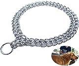 DEYACE Dog Choke Collar, Double Row Chain Collar for Small Medium Large Dogs Stainless Steel Chock Collar