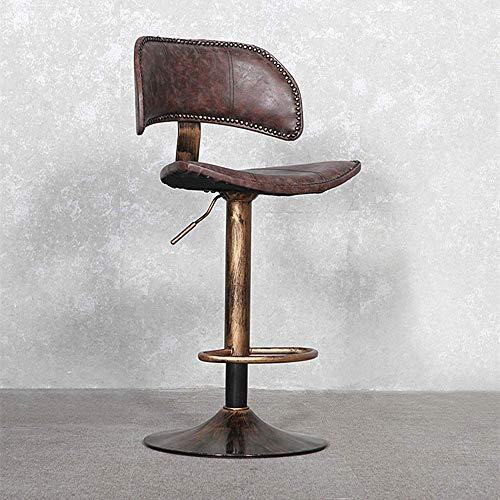 ZLININ Silla de bar de acero inoxidable simple retro estilo europeo 360 ° giratoria silla de bar para restaurante cafetería cena altura móvil silla de oficina ajustable cocina isla silla cómoda