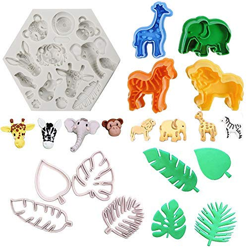 9Pcs/Set Jungle Safari Animal Cake Fondant Mold with Tropical Leaf Cookie Cutter, Hawaiian Palm Leaves Sugar Craft Cutters for Jungle Animals Brithday Party Baby Shower Cake Cupcake Decorations Tools