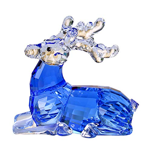 Crystal Sika Deer Animals Lovely Elegant Craft Decorations for Home Ornaments Christmas Collectible Birthday Gifts Reindeer Figurines (Blue)