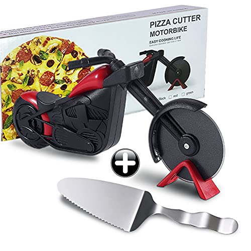 Pizza Cutter,Quality Stainless Steel Motorcycle Pizza Cutter Wheel,Super Sharp Pizza Slicer Cutter Wheel With Non Slip Ergonomic Handle,Fun Pizza Cutter For Family Holiday Gift