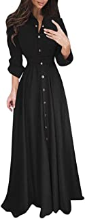 Women's Long Maxi Dress Bowknot Waist Lace-up Long Sleeve Lapel T Shirt Dresses HebeTop