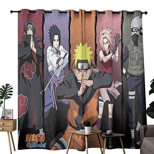 Naruto Shippuden Anime (2) Window Treatments Curtains 42'x54' ,Blackout Draperies for Bedroom Living Room (Polyester Fabric)