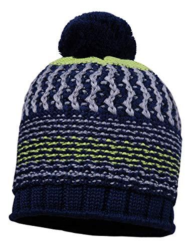maximo Jungen mit Pompon Mütze, Blau (Navy/Leuchtgrün 4868), (Herstellergröße: 55)