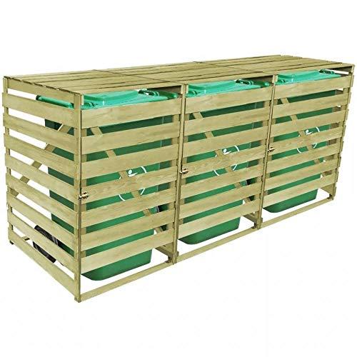 ITAPO Triple Wheelie Bin Shed 240 L FSC Impregnated Wood