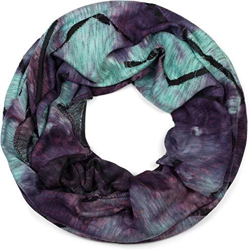 styleBREAKER Unisex Loop Schal mit Batik Verlauf Muster und Rissen im Destroyed Look, Schlauchschal, Tuch 01017126, Farbe:Violett-Türkis