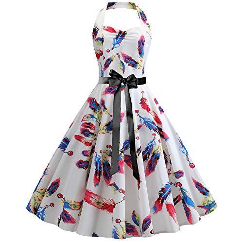 YGZD Damen Kleid 1950er Retro Schwingen Kleid Faltenrock Cocktailkleid Kleid Knielang