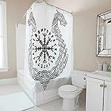 Firelife Wikinger Runen Drache Duschvorhang Anti-Schimmel Wasserdicht Waschbar Polyester Stoff Vorhang Badvorhang mit Haken für Badezimmer