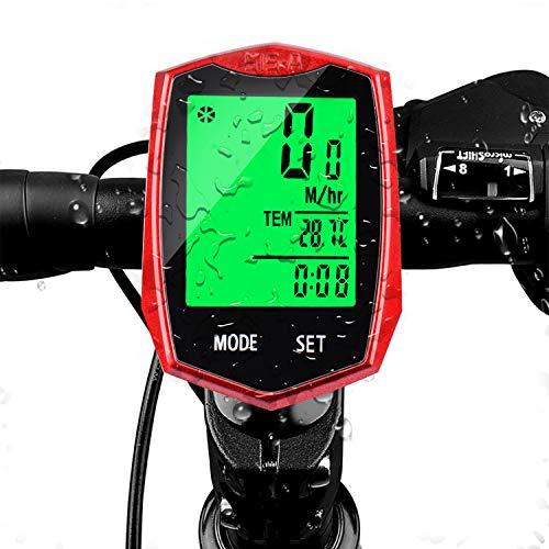 FOXNSK Bicicleta Computadora Inalámbrico, Impermeable Bicicleta Velocímetro con LCD Iluminar Desde el Fondo Monitor Ciclismo Computadora Automático Despierta 24 Multifuncional