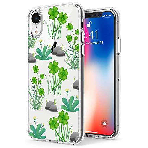 Unov Schutzhülle für iPhone XR 6,1 Zoll, transparent, dünn, weich, TPU, geprägtes Muster, unterstützt kabelloses Aufladen, Glücksklee