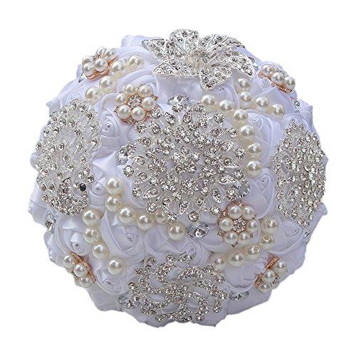 Quibine Bouquet de Mariage Deluxe Strass Perle Roses Satin Fleurs pour Mariée, Dia: 18cm, Blanc