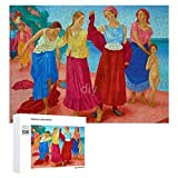 Yohoba Jigsaw Puzzle 500 Piece Petrov-Vodkin, K. S. Girls on The Volga-up Large Puzzle Game Artwork for Adults Teens for Educational Gift Home Decor (15x20inch)