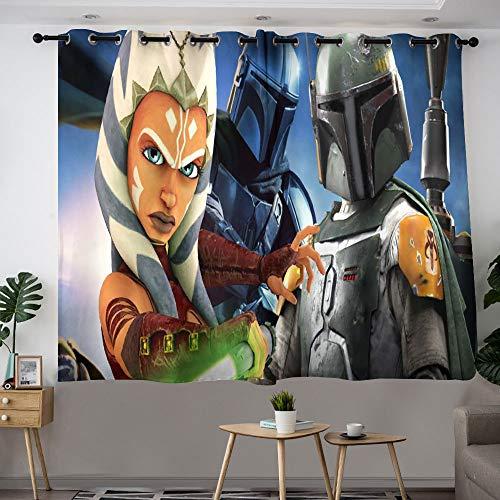 MRFSY Cortinas con ojales de Star Wars Ahsoka Tano y Boba Fett para puerta de patio, cortina extra ancha para villa/salón/salón de 106 x 137 cm
