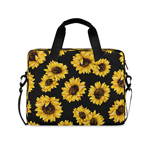 CCDMJ Vintage Sunflower Laptop Bag Floral Flower 15.6 16 Laptops Sleeve Case Briefcase Notebook Carrying Case Cover Bags Computer Tablet Bags with Strap Handle for Women Man Boys Girls 15 Inch