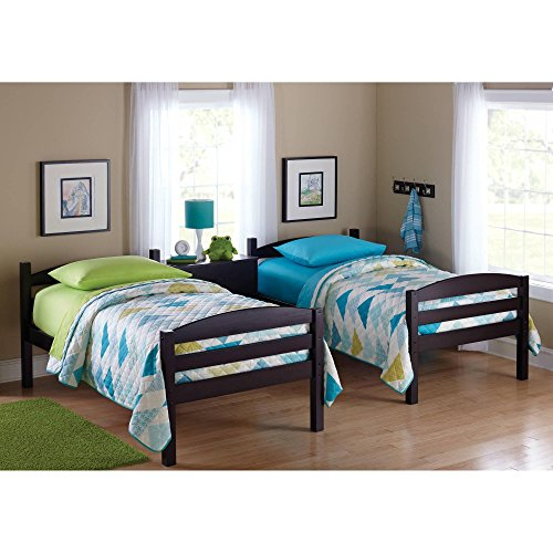 Easy-to-Convert to Twin Bed Practical Space Saver Wood Bunk Bed, Multiple Finishes with Sturdy Frames, Espresso