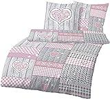 Träumschön Ropa de cama de franela de 155 x 2200 2 piezas   Corazón Rosa Chica en estilo Oktoberfest   Funda nórdica de 155 x 220 cm y funda de almohada de 80 x 80