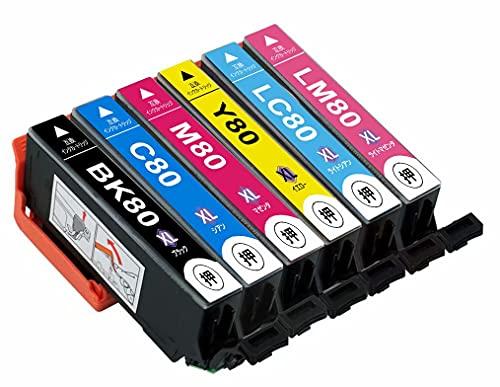 エプソン IC6CL80L インクカートリッジ 【 6色パック 大容量 】 EPSON とうもろこし IC80 (BK/C/M/Y/LC/LM) IC80L 互換 インク インクタンク <対応機種> EP-707A EP-708A EP-777A EP-807AB EP-807AR EP-807AW EP-808AB EP-808AR EP-808AW EP-907F EP-977A3 EP-978A3 EP-979A3 EP-982A3