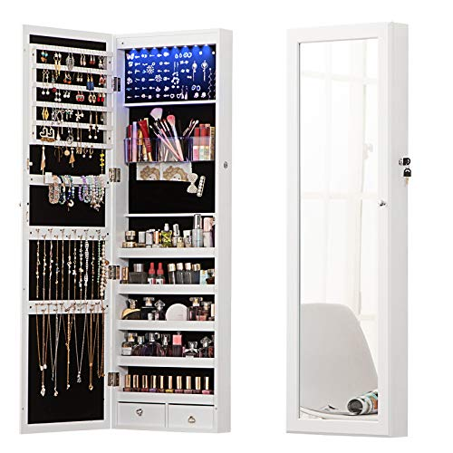 8 LED Lights Lockable Full mirror jewelry organizer wall mounted/door mounted Jewelry Box For Women/jewelry cabinet jewelry armoire with mirror/full length mirror hanging mirror 6180