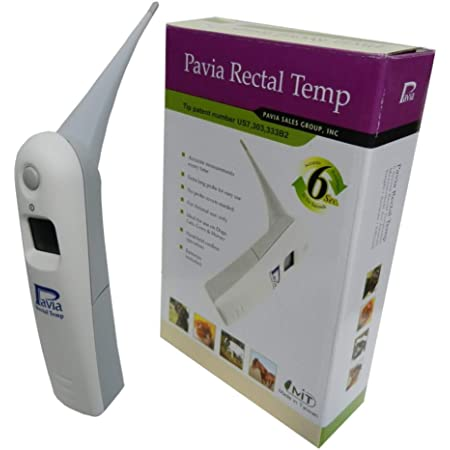 Genuine Pavia Rectal Temp Veterinary Thermometer for Dogs, Cats, Horses, Pets and Livestock. Accurate Temps in Only 6 Seconds. Beeps When Ready. Trusted by Veterinarians, Breeders and Pet Owners.