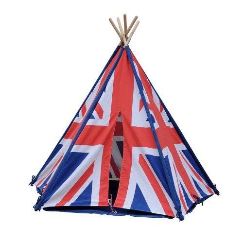 HAB & GUT - ZK004 - Tente de Jeu Rayures en Cotton, tipi, Drapeau Anglais Couleur : Rouge/Blanc/Bleu, Hauteur 135cm Ø 180 cm -Variable-, pour l'intérieur