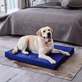 Western Home Dog Beds for Large Dogs, Orthopedic Dog Bed with Egg Foam, Pet Crate Bed with Cooling Fabric, Washable Removable Cover, Blue, 42 inches