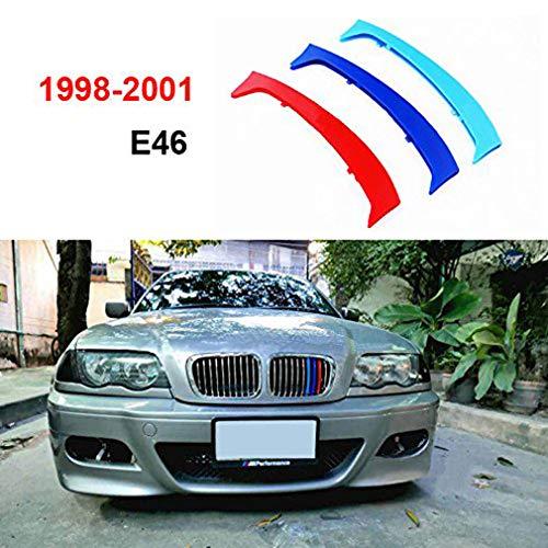 Maiqiken 3D Coche Rejillas Frontales Cover Hebilla para 3 Serie E46 1998-2001(10 Rejillas un Lado) ABS 3 Colores