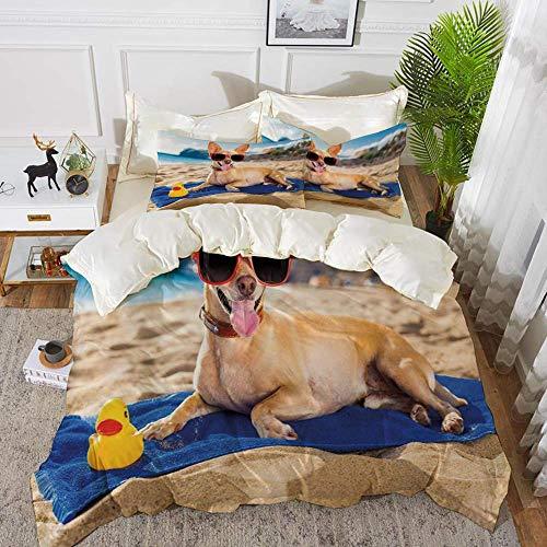 ropa de cama - Juego de funda nórdica, divertido, perro chihuahua en la orilla del mar tomando el sol, estampado de encanto costero sonriente, ceja de arena, juego de funda nórdica de microfibra hipoa