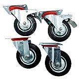 Cogex 69380 - 2 ruedas fijas + 2 ruedas 360° con placa y freno (goma, rodamiento de bolas)