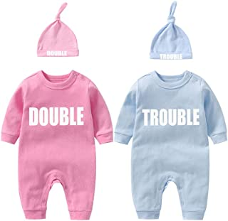 Twins Bodysuits Funny Double Trouble Pack of 2 Twins Set with hat